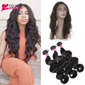 Brazilian Virgin Human Hair Body Wave Weave 360 Frontal Band Natural Hairline Pre Plucked 360 Lace Frontal Closure With Bundles