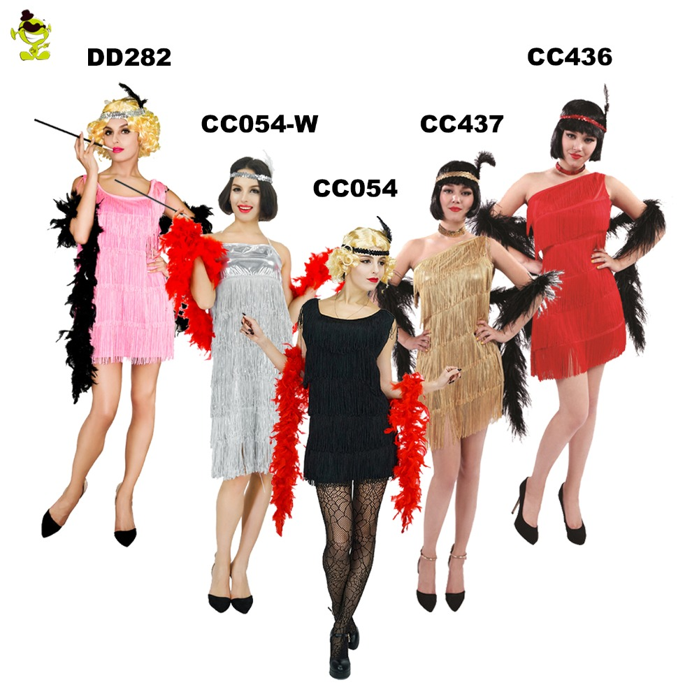 Halloween Party Club Costume Flapper Girls Fancy Dress Women  For Adult Carnival Party
