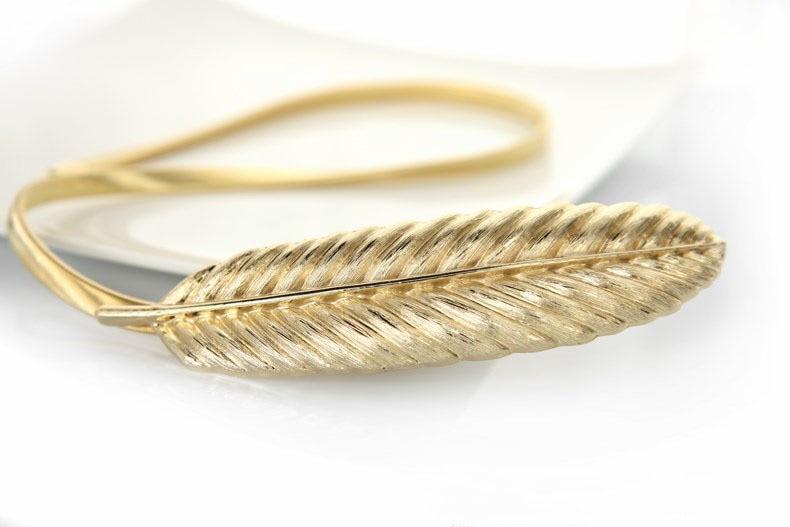 100 шт./лот) женский модный пояс невесты металлический перо из золота и серебра из нержавеющей стали эластичная цепь фирменный дизайн - Цвет: Gold