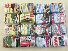16 pcs/lot Retro Car Style Vintage Mini Tin Box Storage Boxes Jewelry Wedding Favor Candy Box Accessories Free Shipping