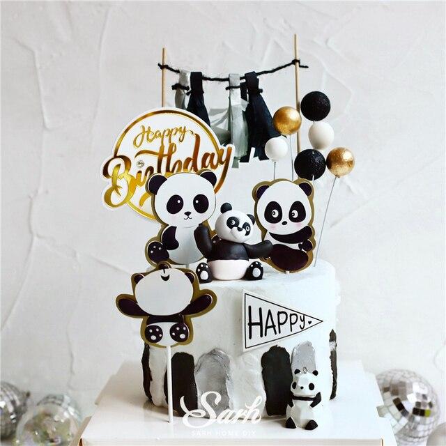 Adornos para pastel de Panda Ins, decoración de hoja de tortuga de bambú, feliz cumpleaños para niños, suministros de fiesta para niños y niñas, regalos bonitos para hornear