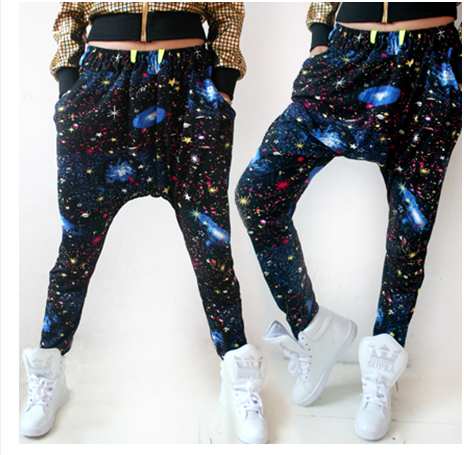 2014 New fashion Brand Hip hop dance sweatpants costume loose casual cosmo print galaxy big crotch harem Camouflage pants