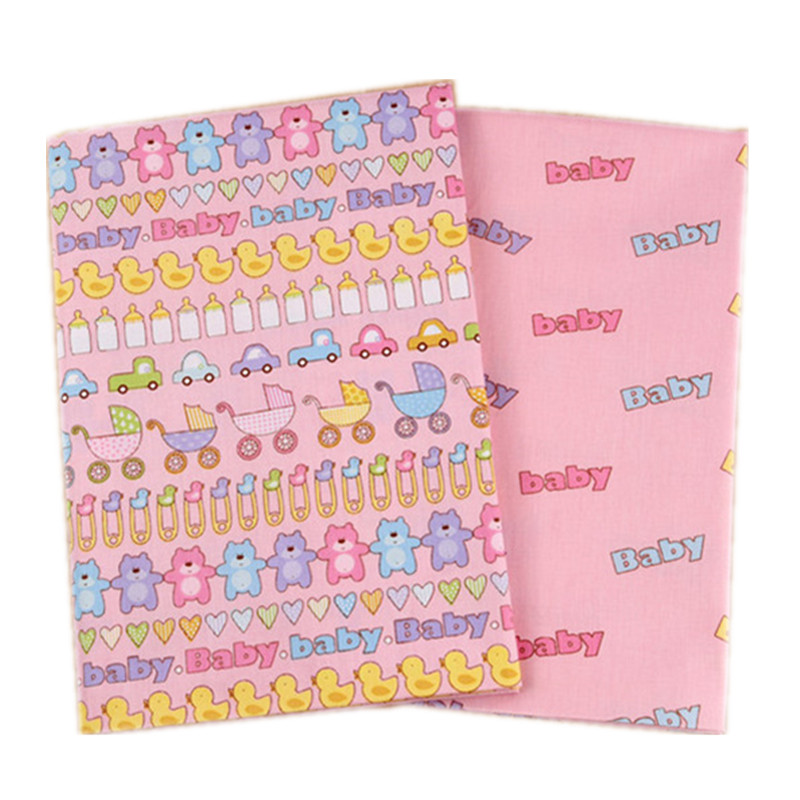 2pcs/Set Cartoon Cute Cotton Quilting Fabric Letters For Children Baby Dolls Body Born Clothes Sewing Tissue Handmade Bed Linen