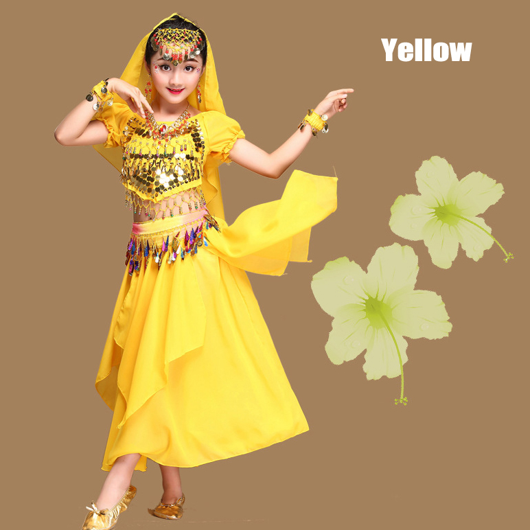 New 7Set Kids Children Belly Dance Costumes Girls Indian Dancing Bollywood Stage Performance Dancewear Clothing