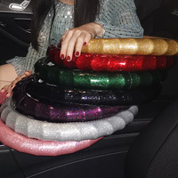 Fashion Wave Women Glitter Leather Car Steering Wheel Covers Diamond Auto Steering Covers for Women Girls Car Accessories