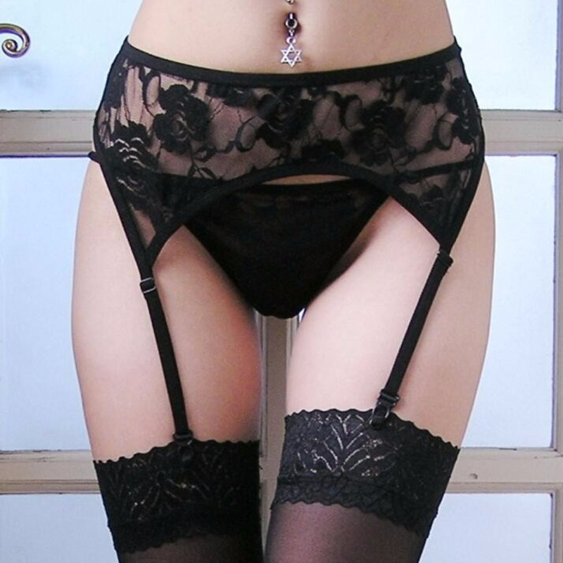New Women Sexy Erotic Lingerie  Sheer White Black Lace Top Knee High Stockings Pantyhose + Garter Belt + G-string Sex Products