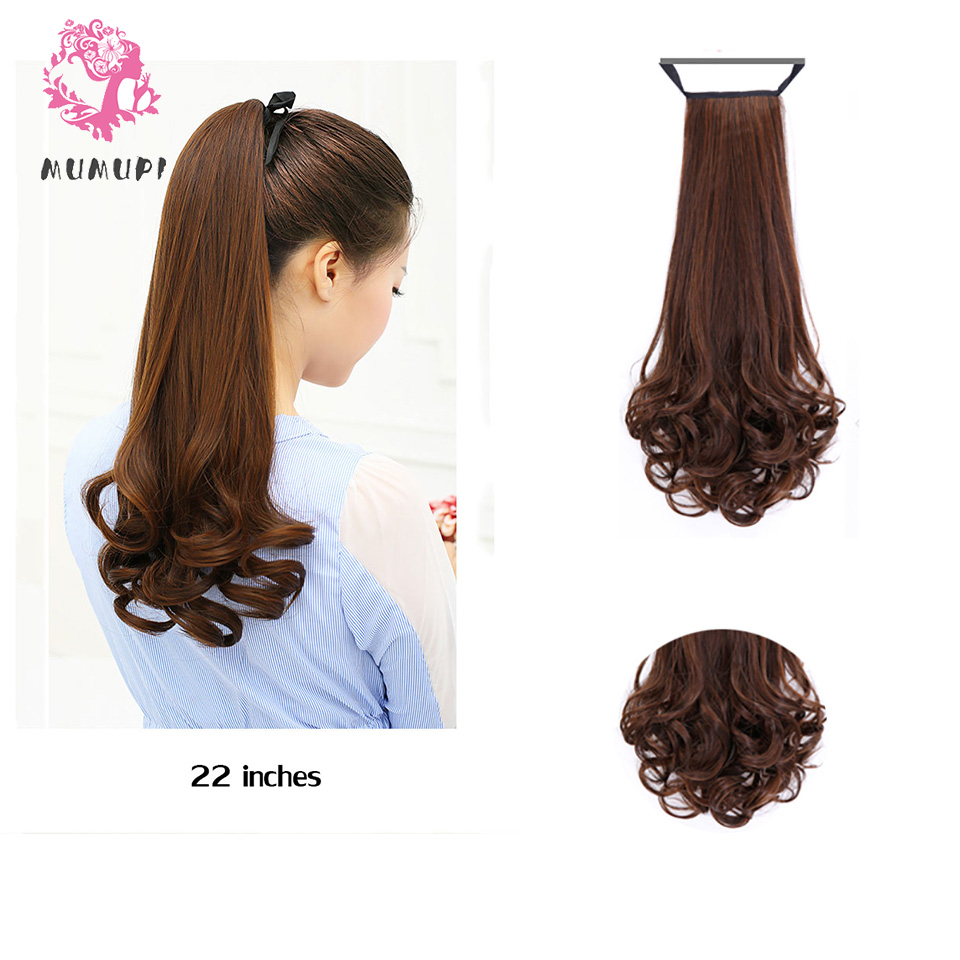 MUMUPI Long curly hair clips in hairtail fake ponytail wig hair with synthetic hairpin hair tail horse hair extension   headwear