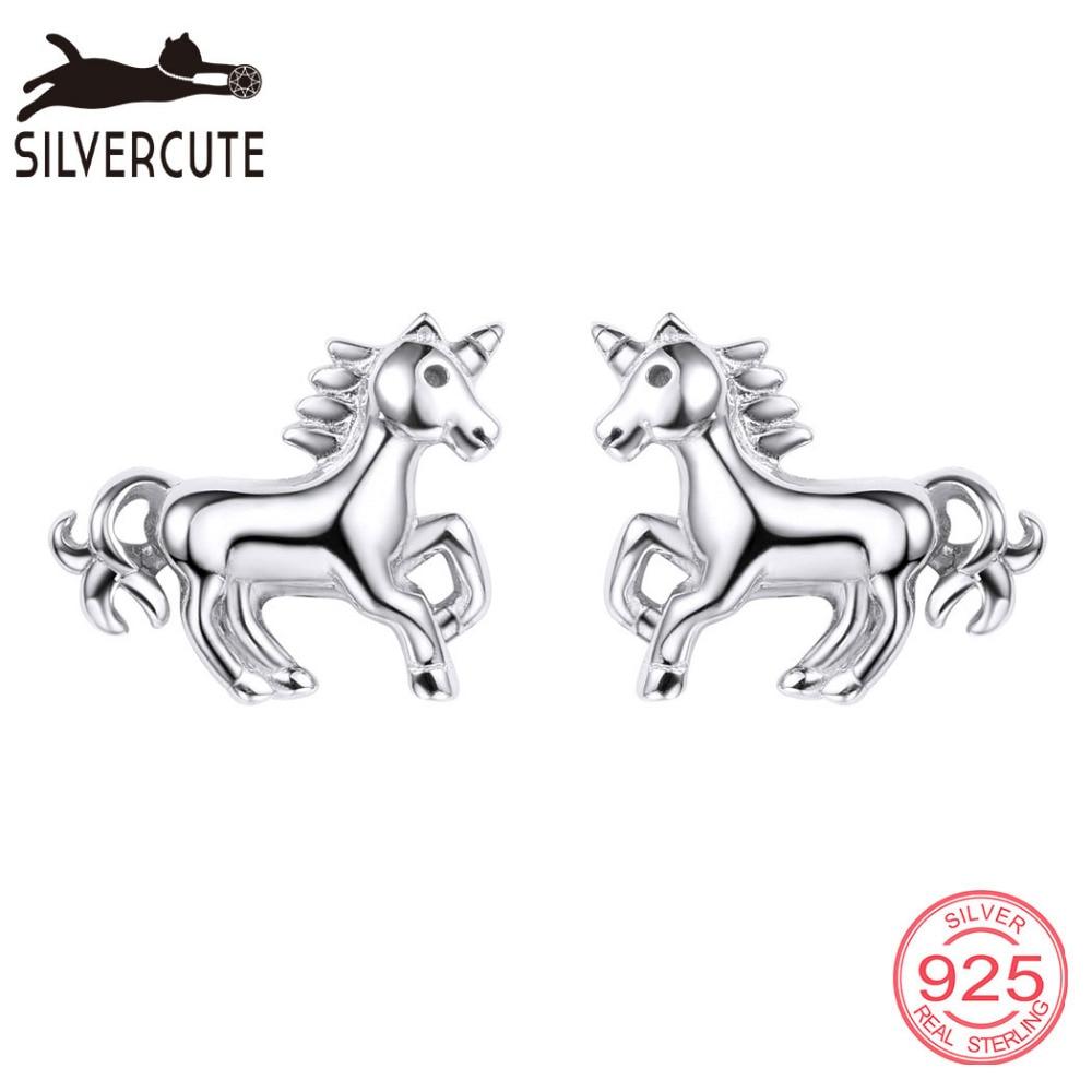 Silvercute Little Horse Stud Ականջօղեր կանանց - Նուրբ զարդեր - Լուսանկար 1
