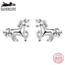 Silvercuteリトルホーススタッドピアス100%シルバー925ファインジュエリー低刺激性動物oorbellen brincos SCE6014B