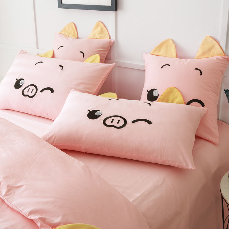 Animal Pink Pig Bedding Set Embroidery Bed Linens 3d Quilt/comforter Cover  Home Decor Quality 100% Cotton Sheet Queen King Sizes In Bedding Sets From  Home ...