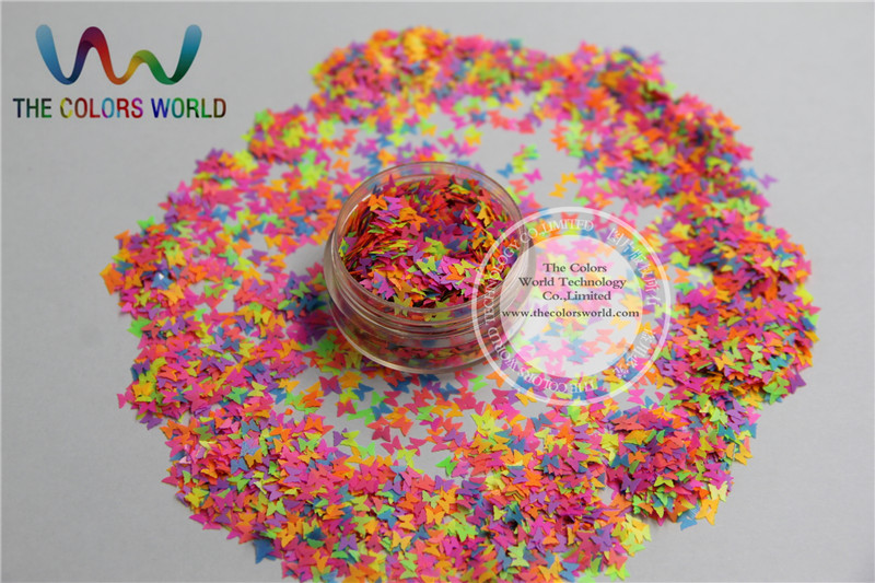 FR3-43 Mix Pearlescent Rainbow  Colors Butterfly Shape Glitter  Sequins,Spangles For Nail Art Decoration  Size:3mm 1pack=50g