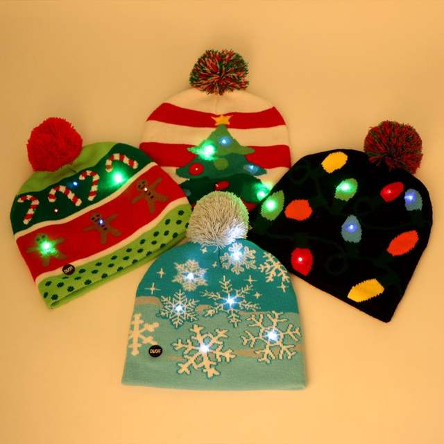 7a63f6eef US $3.99 20% OFF|OurWarm Led Christmas Hat Cap Kids Knit New Year Hat Led  Light Up Hat Beanie Merry Christmas New Year product Adult Cap 4 Style -in  ...
