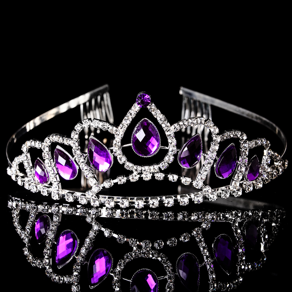10Pcs Purple Crystal Rhinestone Tiaras Headband Wedding Crowns Bride Crown For Women Customized YC 1010099 In Hair Jewelry From Accessories On