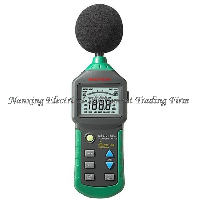 MASTECH MS6701 Autoranging Digital Sound Level Meter Decibel Tester Noise Meter with RS232 Interface and Software,30dB to 130dB noise meter usb digital sound level meter led noise tester meter gm1356 30 130db a c fast slow db software with carry box