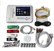 Сенсорный 6-канальный электрокардиограф 12-цельный кабель ЭКГ/аппарат для ЭКГ + ПК программное обеспечение, + принтер, ECG600G