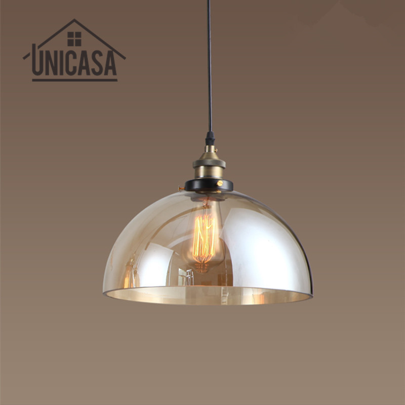 Amber Glass Shade Pendant Lights Antique Large Lighting Fixtures Kitchen Island Home Mini LED Bulbs Vintage Pendant Ceiling Lamp brass cone shade pendant light edison bulb led vintage copper shade lighting fixture brass pendant lamp d240mm diameter ceiling