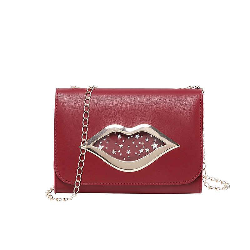 Брендовая модная сумка на плечо с большими губами для женщин 2019 блестящие звезды кожаный кошелек для монет женские сумки через плечо с цепочкой