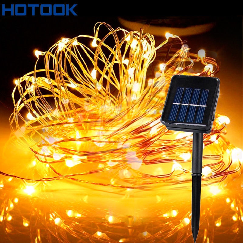 HOTOOK Solar Powered Starry String Lights 15M 20M Sensor Copper Wire Outdoor Fairy Light for Christmas Garden Holiday Decoration