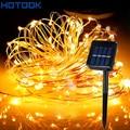 Solar Powered Luces de la Secuencia 5 M 10 M 15 M 20 M Alambre De Cobre Al Aire Libre de Hadas de Luz para el Jardín casa Decoraciones Navideñas