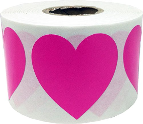 "250 Heart Shaped Stickers On Neon Pink Paper 2"" Label Sticker Wedding"