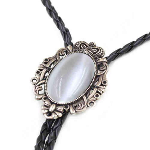 59cc50a2bfe1 ... Lychee Vintage Western America Style Mens Male Cowboy Opal Bolo Tie  Rodeo Dance Aztec Leather Party ...