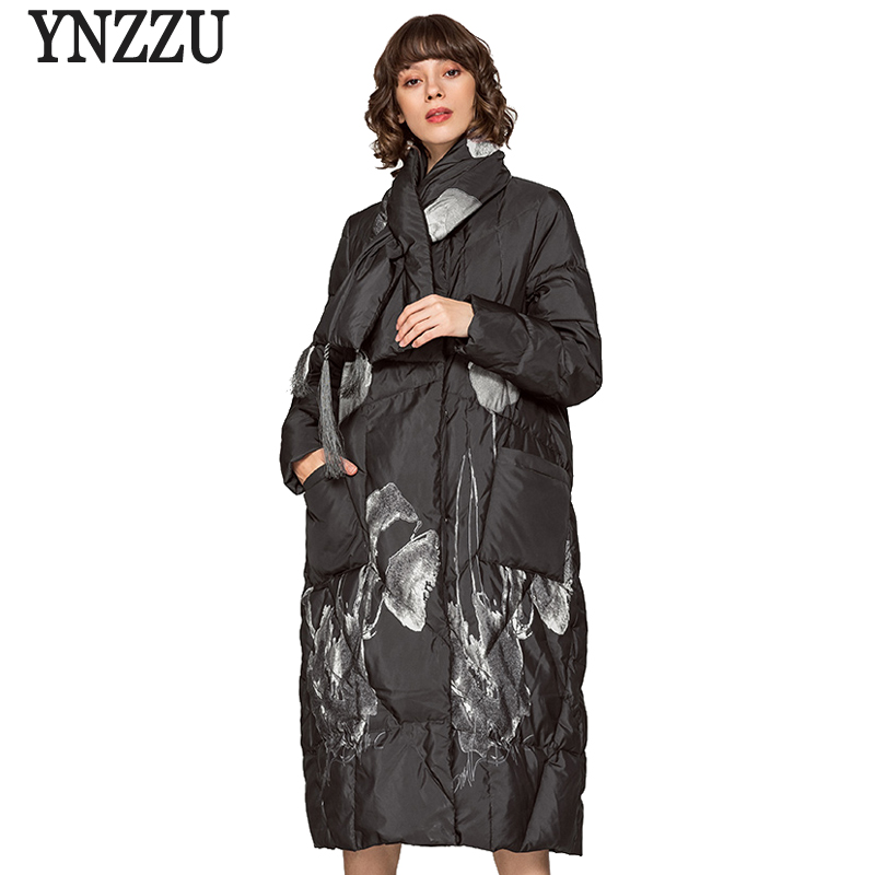 Chinese Style 2018 Winter Jacket Women Elegant Print Extra Long Loose Female Duck   Down     Coat   with Scarf Warm Lady Overcoat AO630