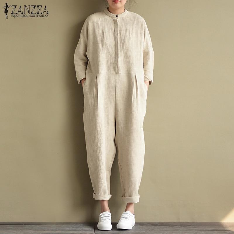 2018 Autumn ZANZEA Women Cotton Linen Jumpsuits Casual Stand Collar Long Playsuit Pockets Overalls Rompers Bodysuit Plus Size