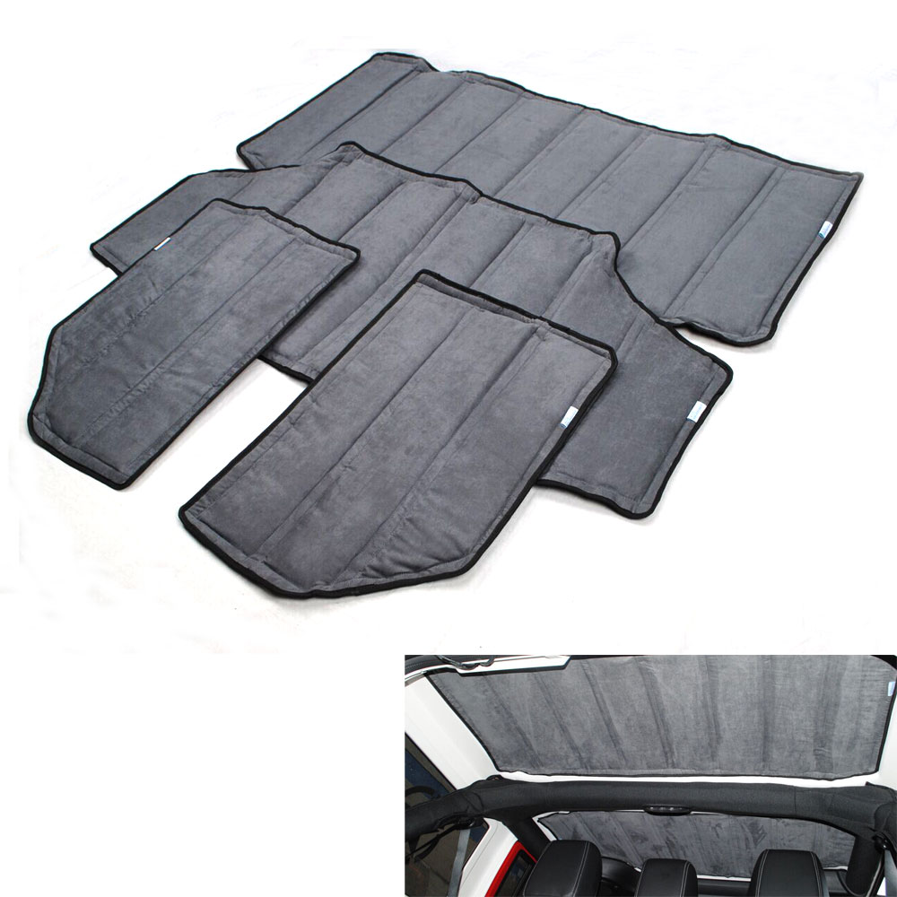 Car Styling Black 2pcs / 4pcs Per Set Sound Deadener Hard Top Insulation Roof Panel For Wrangler 11-16 JK 2DOORS 4DOORS 2012 Up 2 pcs black car styling parts front rear grab bar handles for jeep wrangler jk 2007 2017 new fashion upgraded