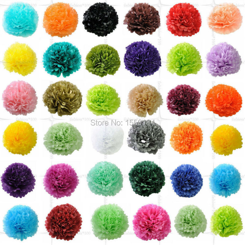 Free Shipping 500pcs Artificial Tissue Paper Flower Balls Pompoms Dia10cm for Wedding Festival Home Room Hanging Decorations