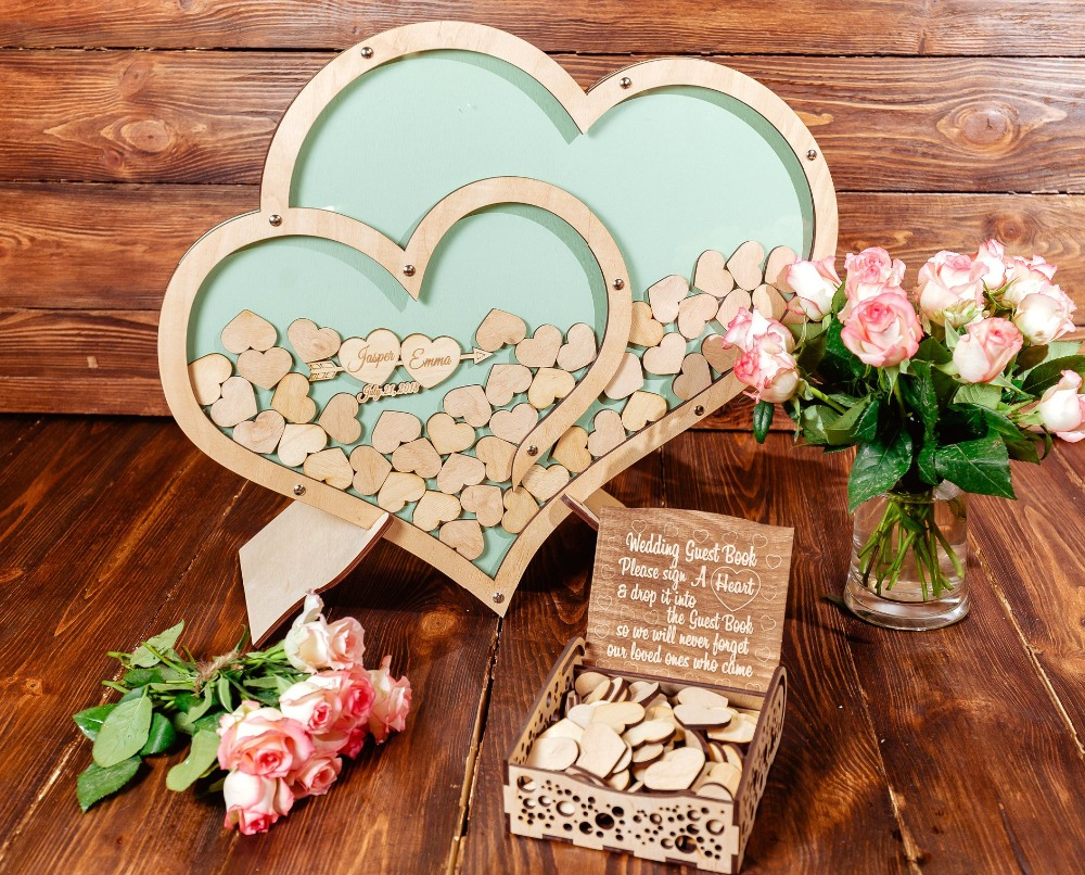 Custom Double Heart Wedding Guestbook Personalized Alternative Guest Book Wooden Drop Box In Party Backdrops From Home Garden On