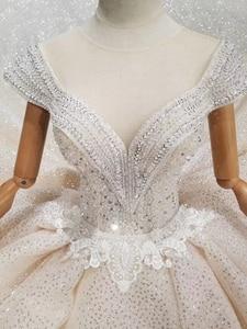 Image 5 - LS11293 robe de mariée spéciale cristal capuchon manches illusion col rond à la main robe de mariée transparent dos ouvert vistido de noiva