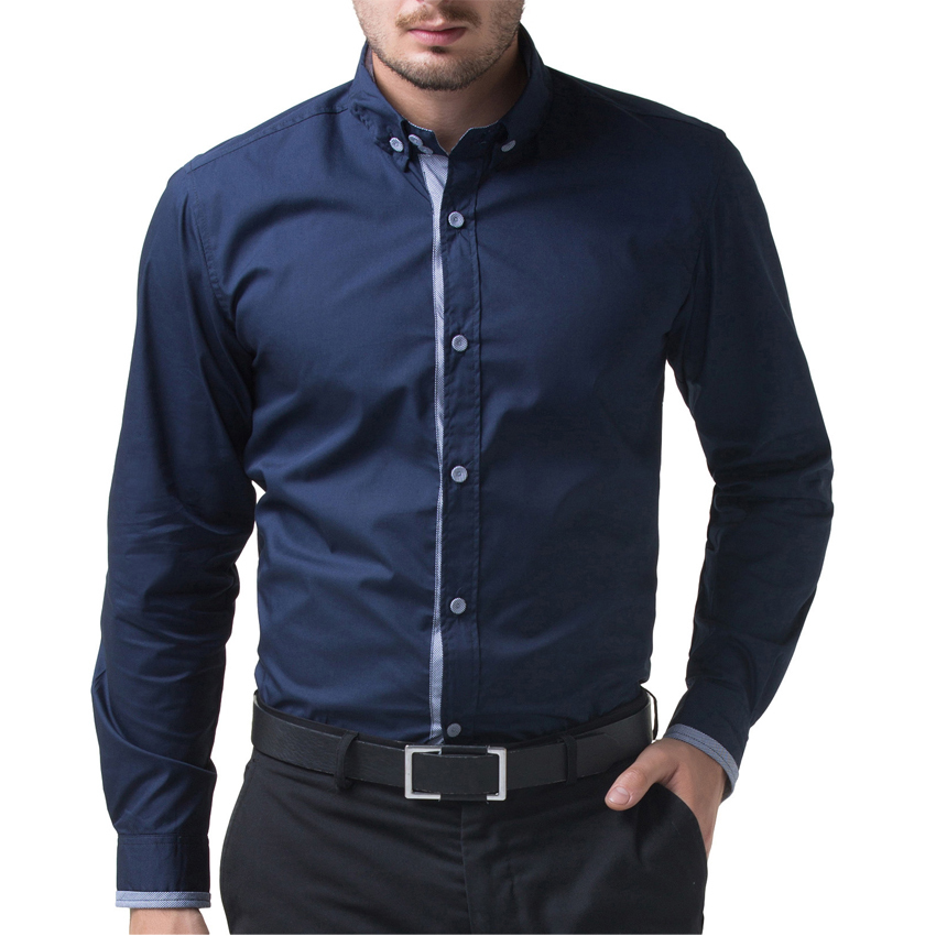 cc4309198b3 2017 Long Sleeve Navy Blue Wine Red Chemise Homme Men Casual Slim Fit Shirt  Tops