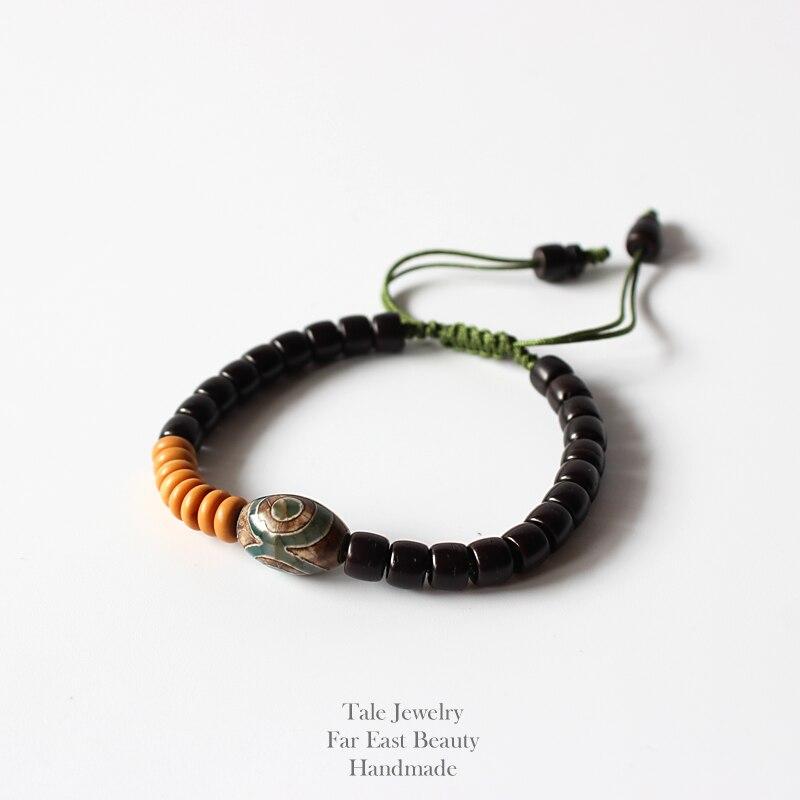 Wholesale Natural wooden Beads Tibetan Stone Bracelet Unisex Buddhist Handmade Yoga Meditation Ethnic Unique Jewelry Adjustable
