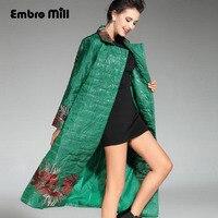 Китайский стиль Королевский пальто с вышивкой женские осенне зимние новые цветы Большие размеры Vintage Леди длинные пальто с цветочным рисун