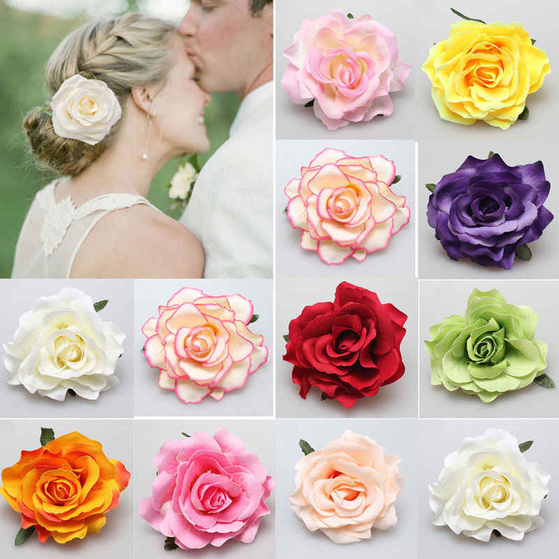 Hot Sale 1 PC Fashion Multicolor Rose Flower Bridal Hair Clip Hairclips Hairgrips Elegant Hairpin Wedding Party Accessories
