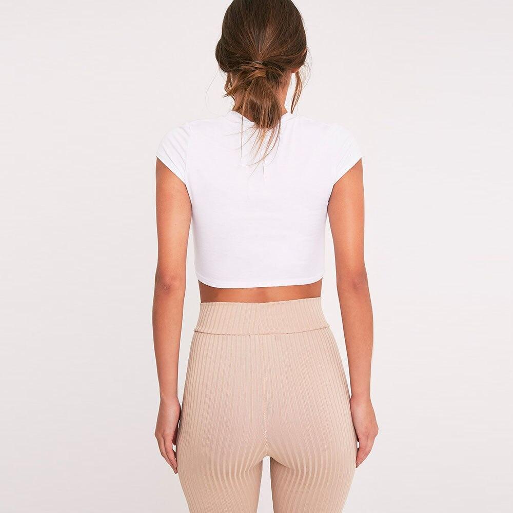 a5763c5679 2019 moda damska lato okrągły dekolt z krótkim rękawem Slim koszulki 2019  nowy Sexy stałe otwory krótkim Casual Crop topy koszulka damska w 2019 moda  damska ...