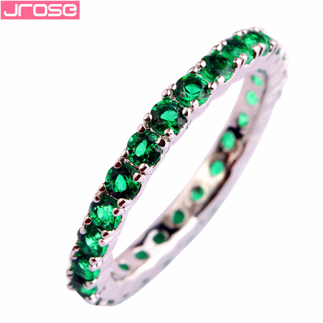 JROSE Wholesale Popular Green & Blue Quartz Silver Color Ring Size 6 7 8 9 10 11