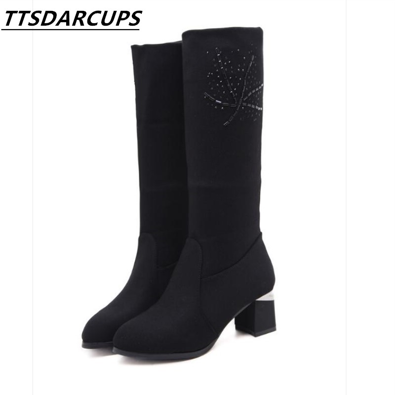 New pattern Autumn and winter All-match Plush High boots Elastic material With A variety of wearing methods  Woman rider boots devil pattern elastic plush eyepatch black white