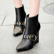 European Style Black Brown PU Pointy Toe Slope Heels Martin Boots With Belt Buckle Fashion Elegant Wedges Booties Shoes Rivets