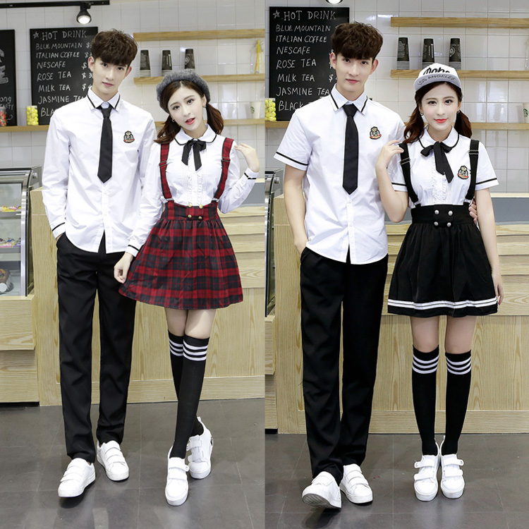 Hot Korean School Uniform Girls Jk Navy Sailor Suit For Women Japanese School Uniform Cotton White Shirt + Plaid Straps Skirt