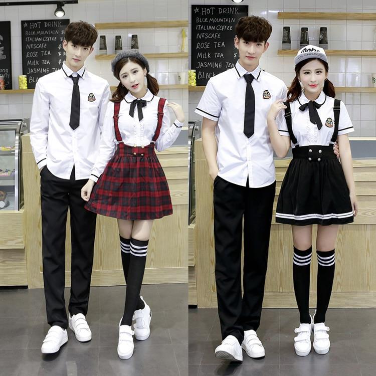 Hot Korean School Uniform Girls Jk Navy Sailor Suit For Women Japanese School Uniform Cotton White Shirt + Plaid Straps Skirt