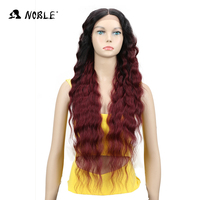 Noble Blonde Lace Front Wig Long 30 Soft Natural Wave Heat Resistant Synthetic Hair Middle Part Black BURG Ombre Wigs For Women