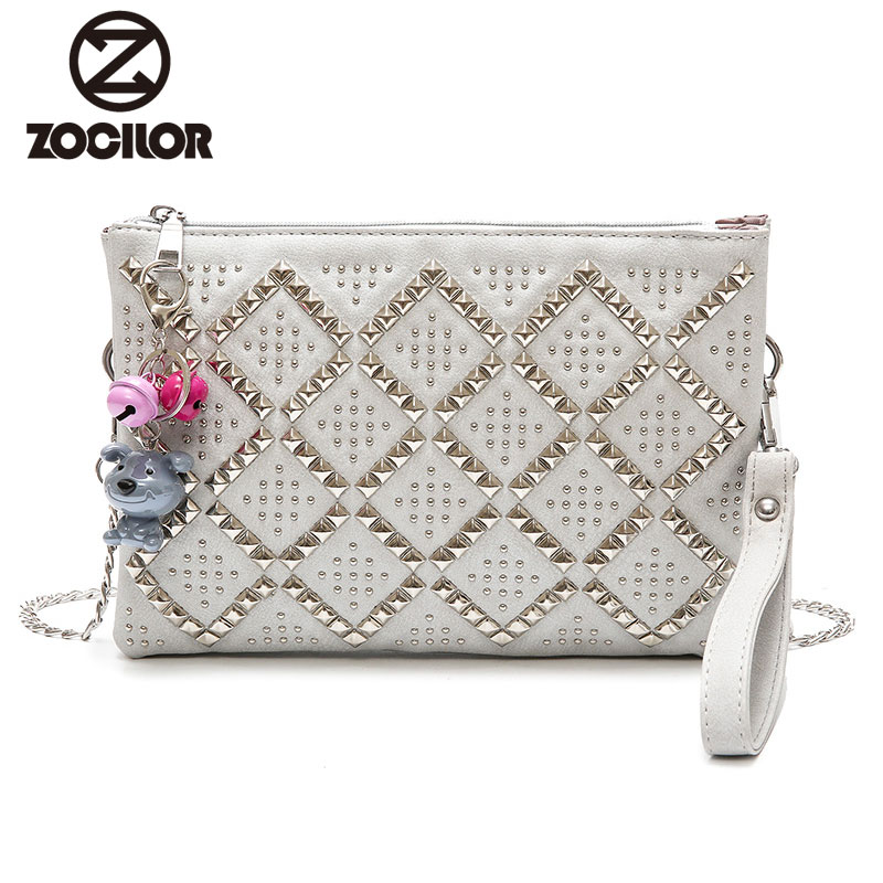 2018 Fashion Vintage Rivet envelope bag PU Leather Women Messenger Bag Single Strap Shoulder Chain Crossbody Bags