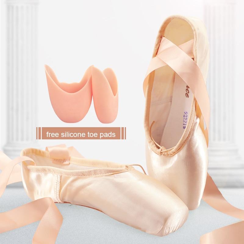 Распродажа, атласные пуанты для балета, профессиональная женская балерина, танцевальная обувь с лентами