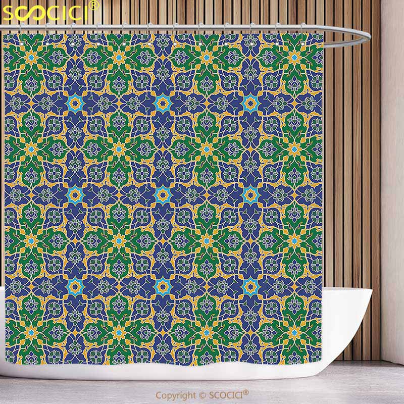 Arabian Decor Shower Curtain Set Vintage Floral Geometrical Pattern With Turkish Ottoman Calligraphic Art Style Old Boho Print Home & Garden