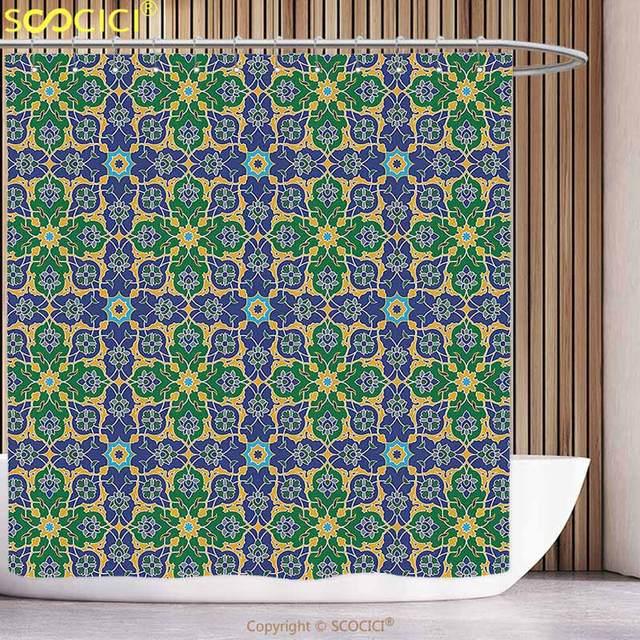 unique shower curtain arabian decor ornate arabic ethnic mosaic
