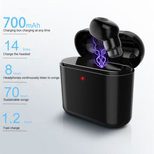 A mini outdoor sports wireless bluetooth headset with a charging case for long life earbuds single-ear