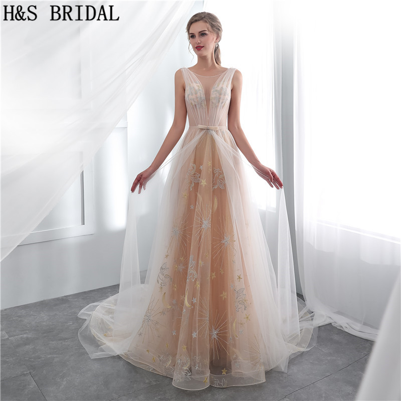 H&S BRIDAL Champagne Simple Wedding Dress Sexy Sheer Lace