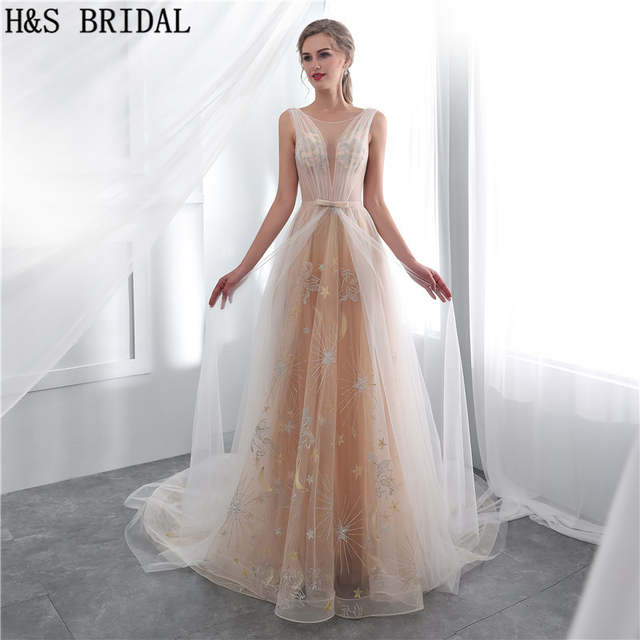 H S Bridal Champagne Simple Wedding Dress Sexy Sheer Lace Beach