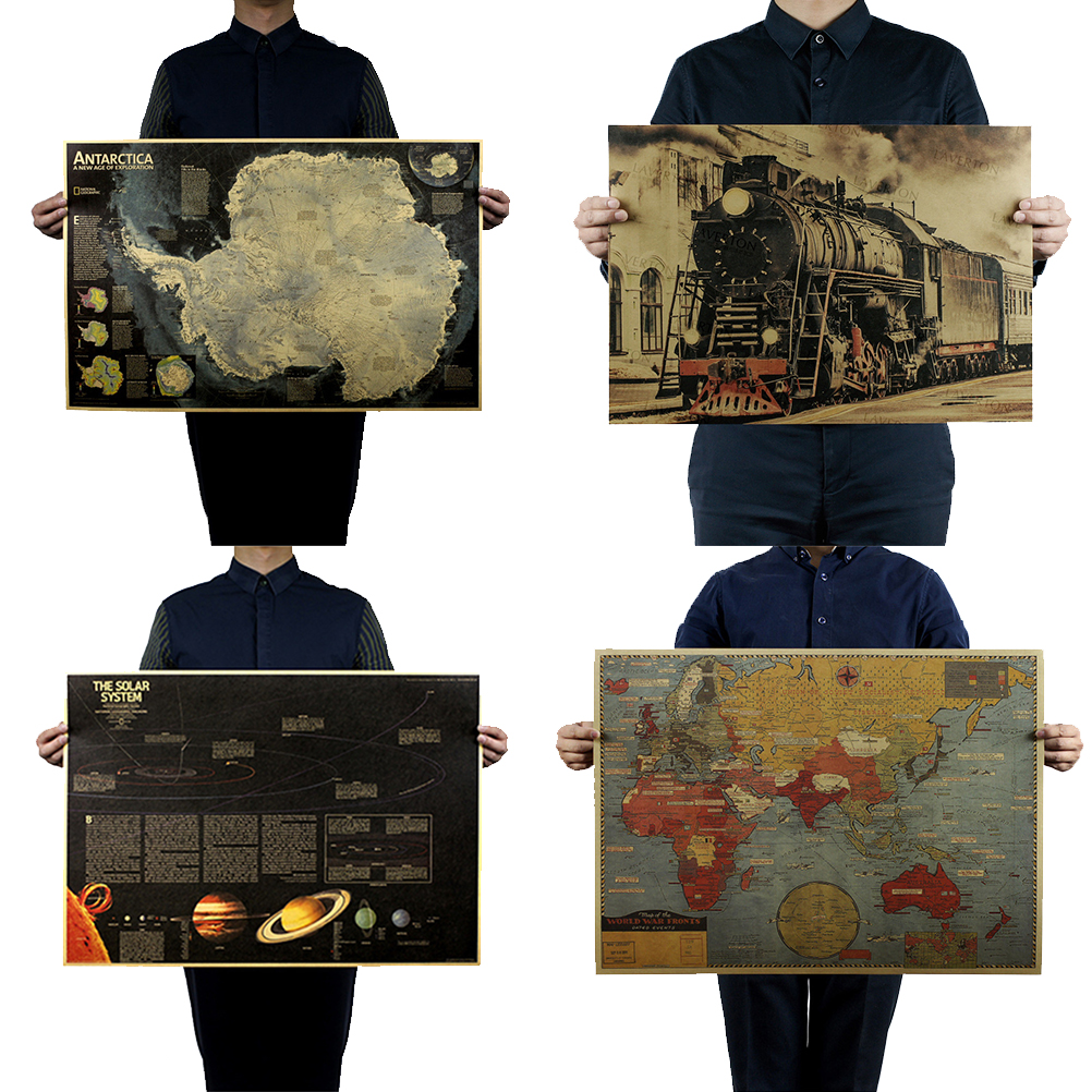 Living Room Retro Kraft Paper Vintage Nine Planets In The Solar System World Geography Map Train Poster Coffee Bar Decor image